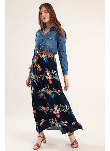 Pattaya Pattaya Kadın Eteği Çiçekli Uzun Kot Elbise Y20S110-1395 Mavi